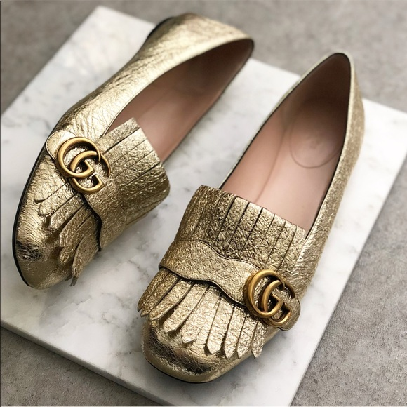 18ed7e62456bb Gucci Shoes - GUCCI Gold Marmont Fringe Ballerina Flat Loafer